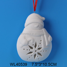 Lovely snowman shaped white porcelain hanging christmas decoration
