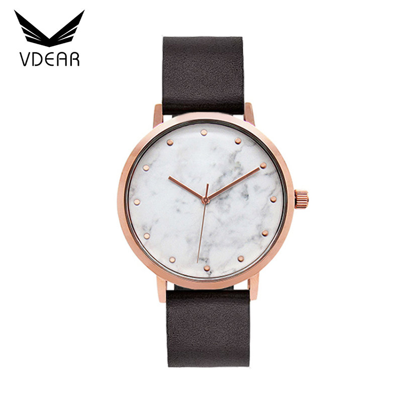 Custom logo stone japanese movement manufacturers leather wrist watch