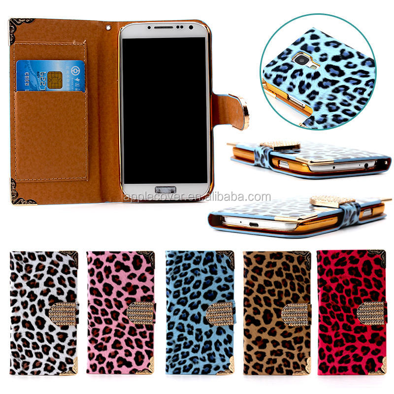 Fashion Bling & leopard style wallet case for samsung s4 with card slots , for samsung s4 cell phone case