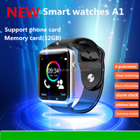 factory wholesale A1 Bluetooth Smart Watch Wrist Watch Men Sport Watch For Android Phone 0.3Mp Camera SIM+TF Card Slot 450Mah