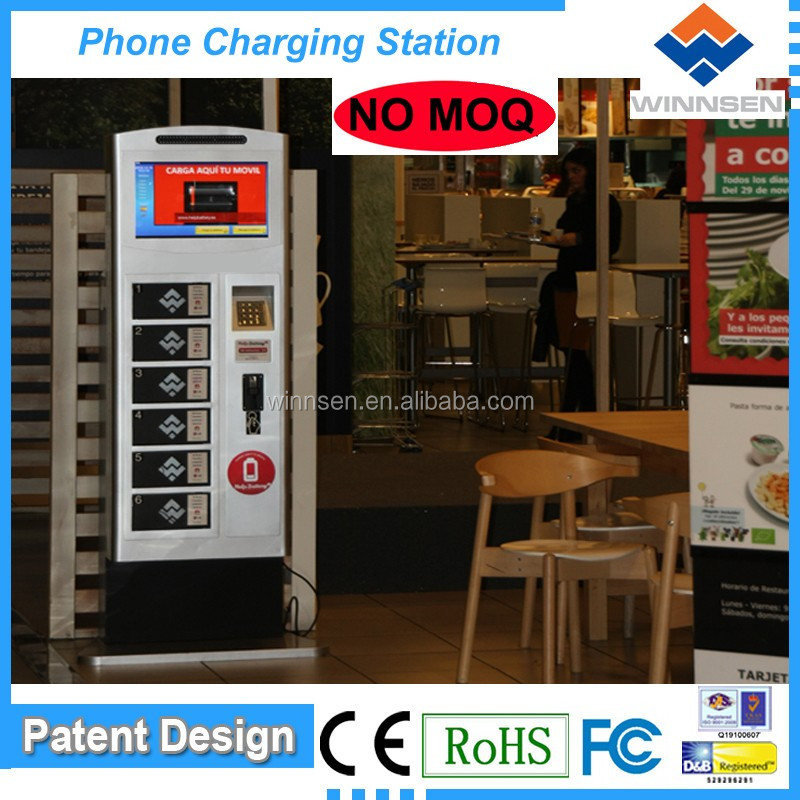 Winnsen coin/note/card operated Cell Phone Charging Station For Tablet Pc with LCD APC-06B