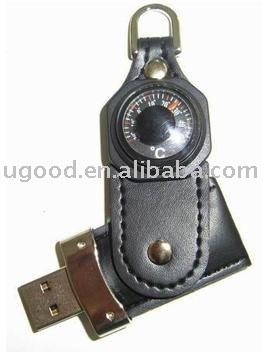 Swivel Leather Flash Drive with thermometer