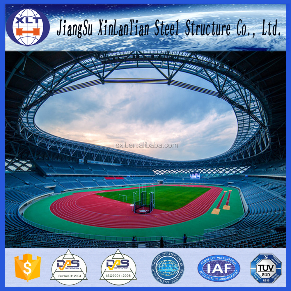 Light weight steel space frame trusses structure football stadium