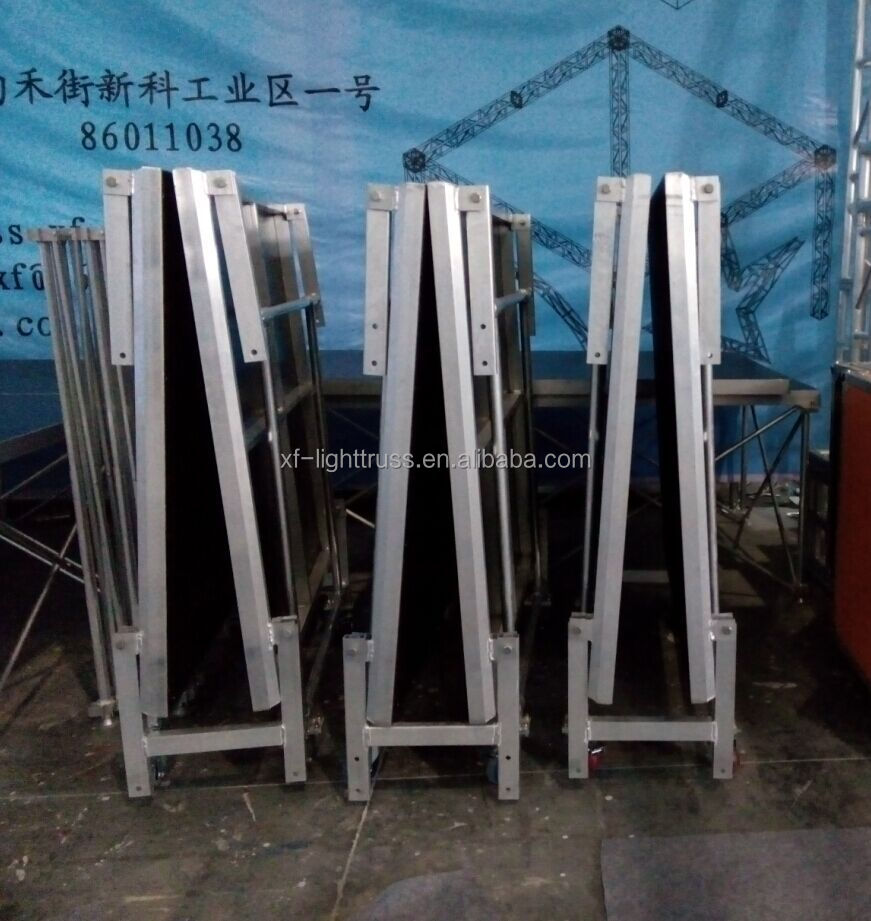 Aluminum Easy Folding Plywood Stage with Wheels for Pulling