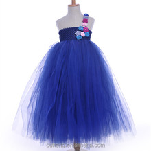 New fashion Designs Flower Tutu Dress Navy Blue One Shoulder Girl Floral Sleeveless Wedding Dresses For Kids Formal Party