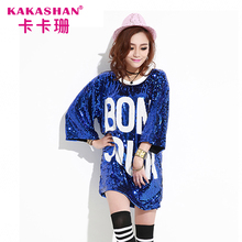 Oversize Dance Wear Costumes Sequin Clothing Long Hip Hop Blank T-Shirts