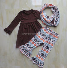 2015 hot sale hollowen outfit baby girl soild brown cotton dress and pumpkin printed pants with scarf baby clothes