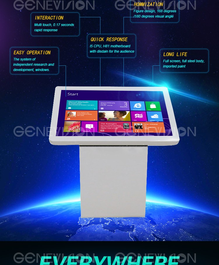 42 inch internet media wide touch screen free standing smart landscape advertising display
