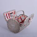 High quality custom portable handmade willow wicker picnic basket hamper for 4 - 6 persons