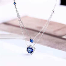 Women Wedding <strong>Necklace</strong> 8mm Natural Blue Topaz 925 Silver Gold Plating Charm