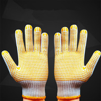 Anti slip PVC Dots Magic Stretch Gripper Cotton knit Safety Gloves for customized logo