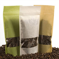 Stand up kraft paper custom tea pouch with window