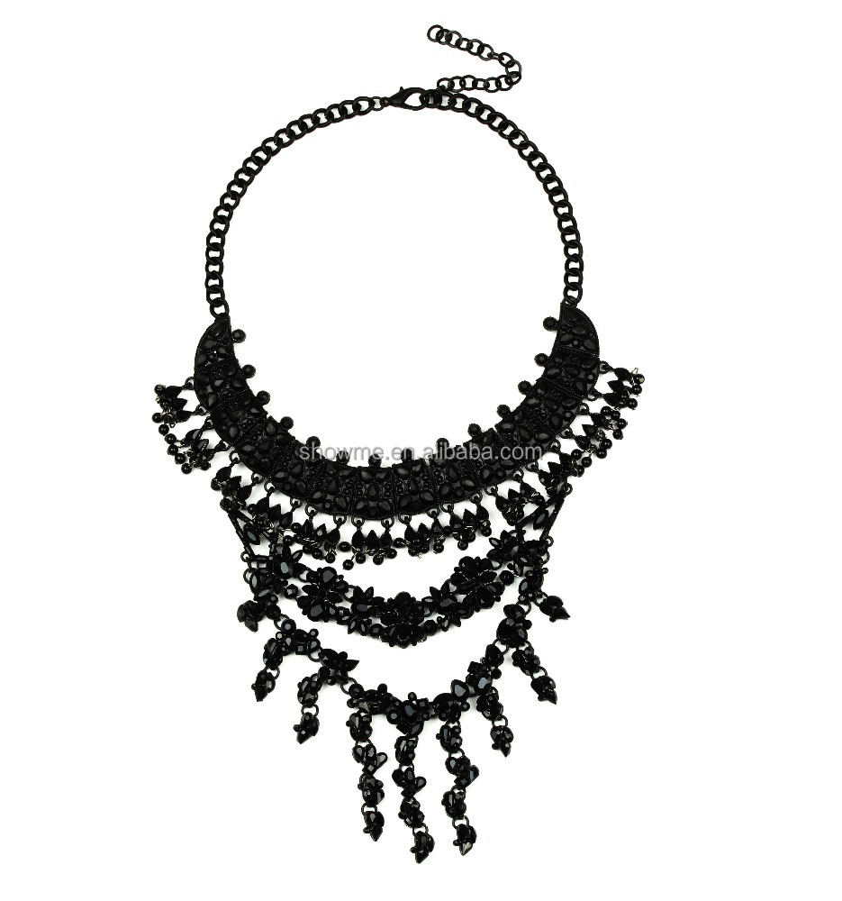 European Most selling famous jewelry Black baroque style necklace jewelry Wholesale european style jewelry 2016