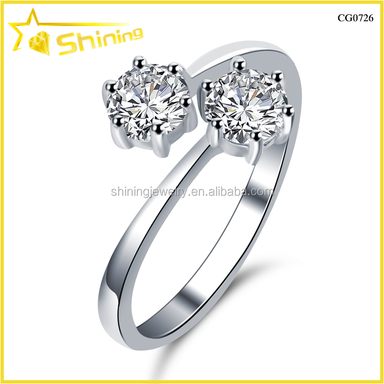 CG0726 wholesale double round cz stone jewlery design 925 sterling silver open ring lucky shine jewelry