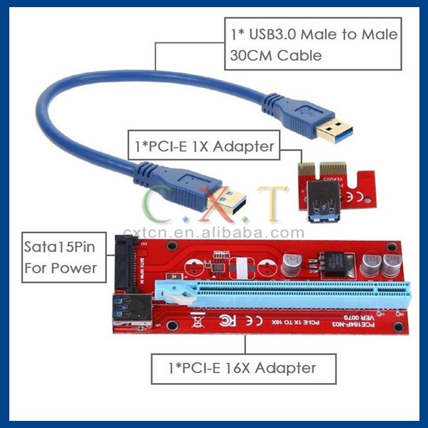60cm USB 3.0 PCI-E Express 1x to16x Extender Riser Card Mining Cable Adapter SATA 15PIN Power Cable