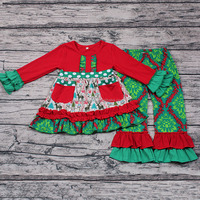 Zhihao Wholesale Baby Girls Christmas Party Wear Smock Design Red Green Clothing Set 2pcs Long Sleeve Boutique Outfits Store