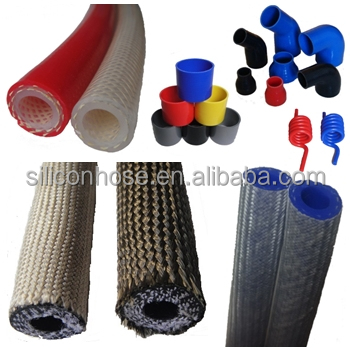 Braid silicone hose / silicone tubing braided with polyester or aramid, with braid cover of glass fiber or Basalt fiber.