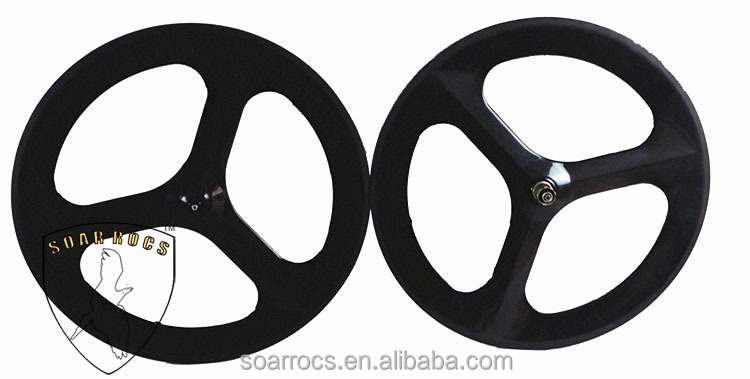 700c 100% full carbon 3 spokes carbon bicycle wheels road hub fixed fear hub front wheel and rear tri spoks wheels