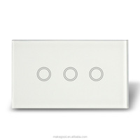 US type crystal tepered glass touch panel 220 volts remote control on off switch for smart home