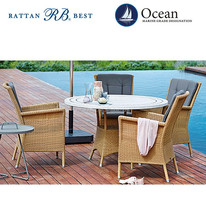 dining marble table, rattan chair used patio furniture