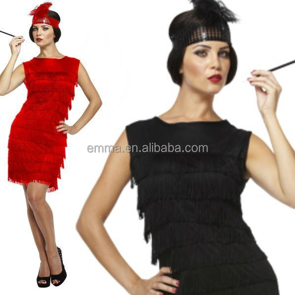 Ladies Black Red Flapper Costume Charleston 20s Gatsby Girl Fancy Dress BWG17289