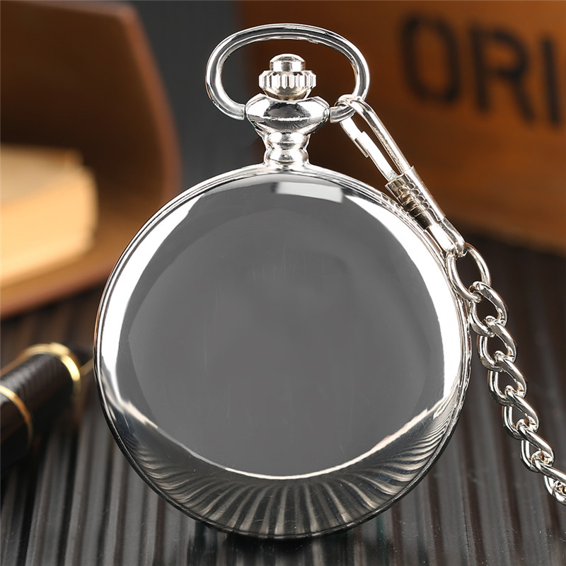 Glossy Steel Pocket Watch Black Epoxy Cover Silver Train on Railway Carving Pendant Chain Special Birthday Gifts Clock for Boys  (8)