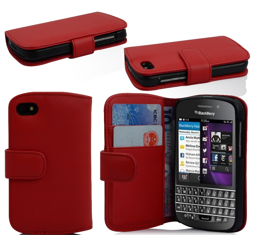 Red PU leather case for Black berry Q10