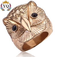 RYQ-00139 latest fashion simple fine Animal shape Owl shape royal 14k gold ring designs for men