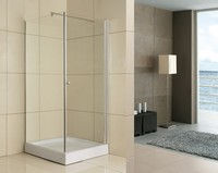 2016 frameless square hinge pivot fiberglass shower enclosures with chrome handle
