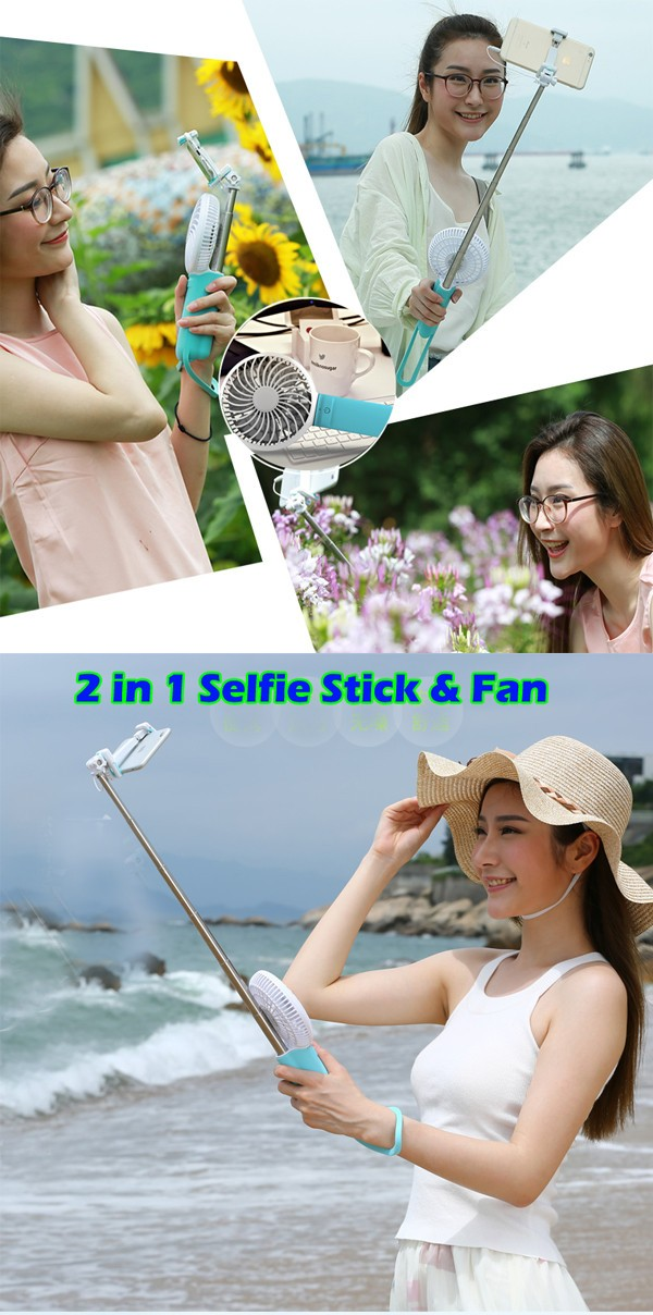 New arrival fashion design cable monopod wired selfie stick with Power Bank Fan