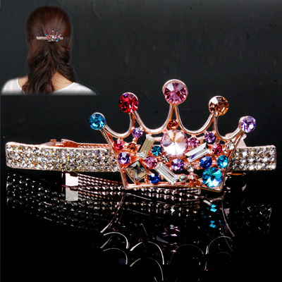 Lmperial Crown Style Austria Drilling Decorated Hair Clip Hair Ornament for Women Ladies