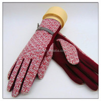 Hand Knitting Back Wool Palm Red Touch Sensitive Gloves