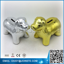 electroplated Dog ceramic coin keeper, ceramic coin bank, ceramic coin piggy bank