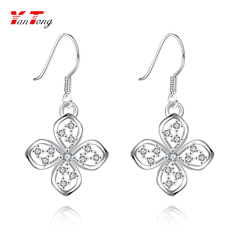 Friendly Environmentally White Gold Plated Pendant Simple Shaped Flower Hook Earrings wirh Small Zircons KZCE018-<strong>01</strong>