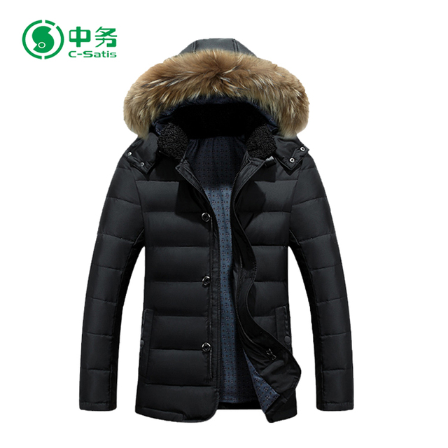 High Quality Custom Thick Windproof Men Winter Fur Long Hooded Parka Jacket