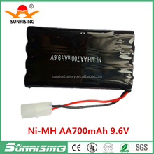 UL, CE, ROHS certificates AA 700mAh 9.6V NIMH rechargeable battery pack for RC toy, electric toy, power tool