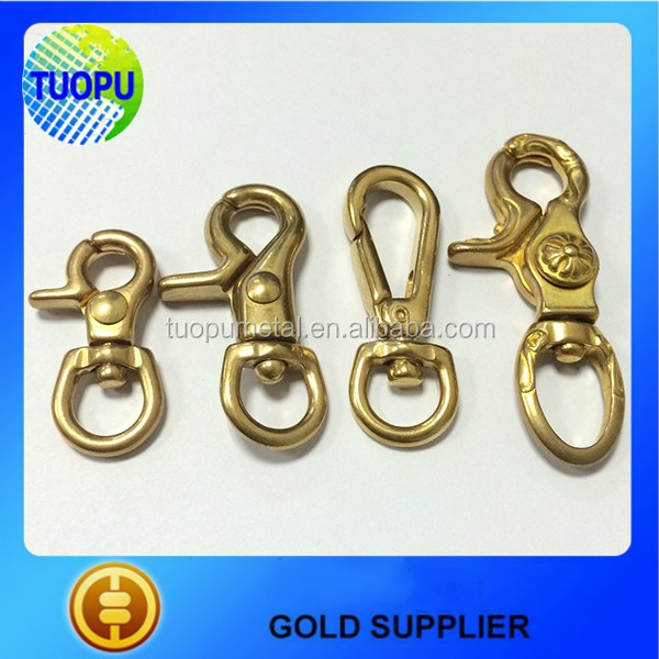 "Quality Solid Brass 2-3/4"" Trigger Snap Hook 5/8"" Swivel Eye For Purse, Bag, Pet"