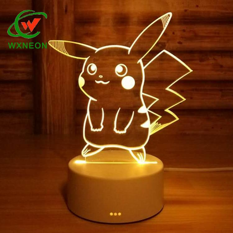 7 Colors Change Remote Control <strong>Timer</strong> 3D Night Light Optical Illusion Kids Lamp