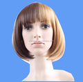 Wholesale brown Bob Wig Short Straight Synthetic Lace Full Wigs