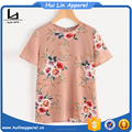Custom wholesale clothing flower print button closure back top women frock top