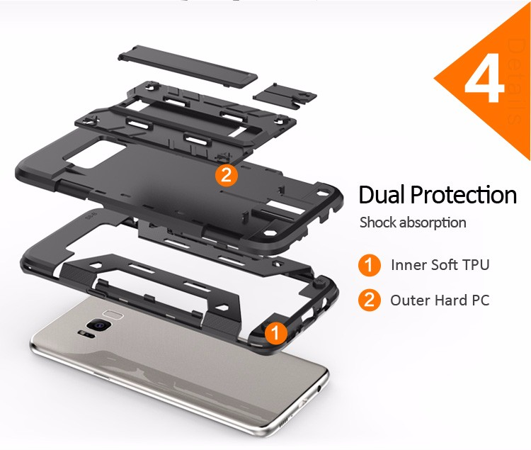Kickstand card holder bumper case cover for samsung galaxy s8 plus