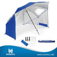 Beach large shade area tent windproof beach umbrella with side flaps