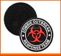 China wholesale Custom New embossed Zombie Outbreak 3D PVC Patches With Velcro