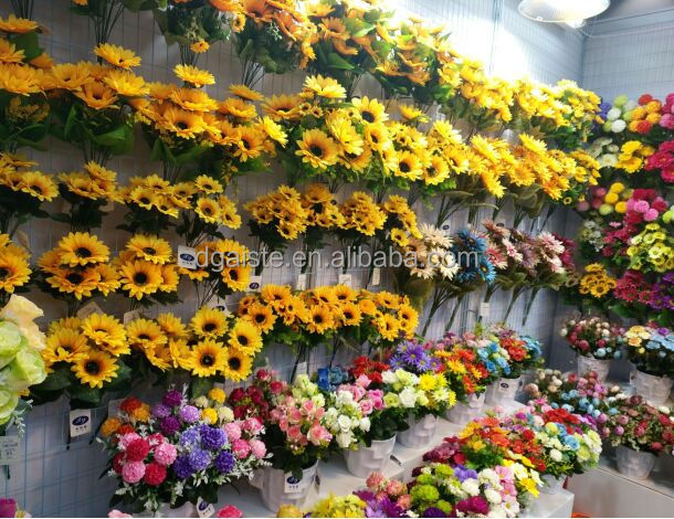 good quality decorative artificial silk sunflower fake sunflowers for wholesale
