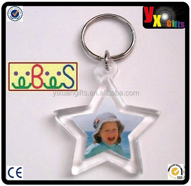 2x Blank Star Shape Acrylic Keyrings 30mm Photo Picture Size (key ring keychain)/logo design branding service