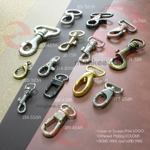 Refined polished gold plates alloy D ring swivel