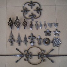 Fence wrought iron drop forged ornamental parts for decoration curved S C round complicated flower