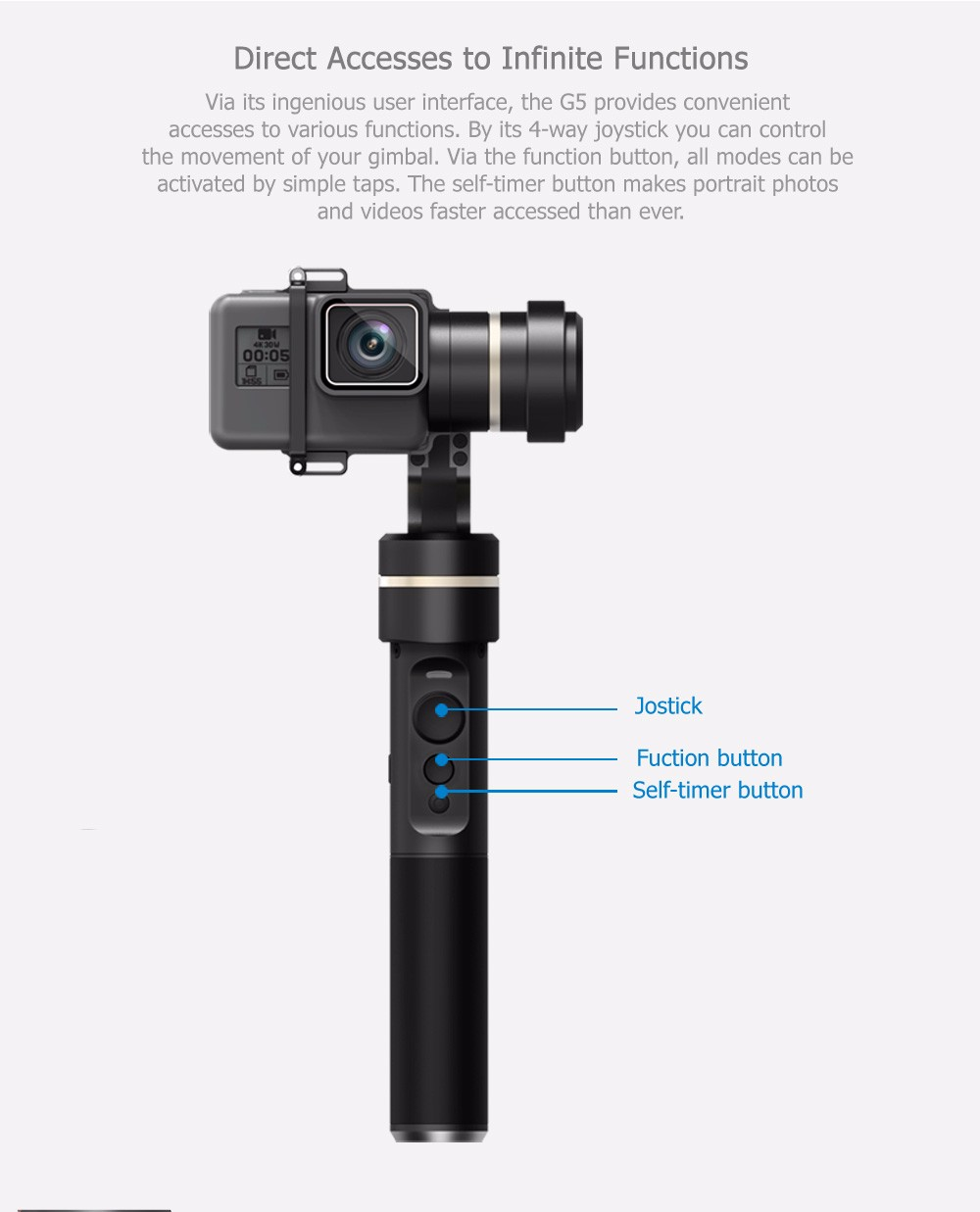 In Stock 2017 Hotest 3 Axis gimbal handheld G5 stabilizer vs Zhiyun smooth Q