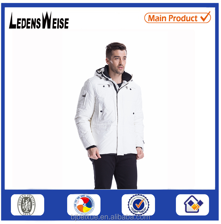 Hot Sale 2015 mens winter double collar with phone pocket down jacket with hoodie for sale