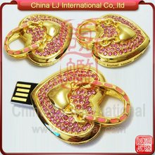 high-end wedding gift diamond heart shape usb pen drive promotional gifts